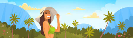Tanned Woman In Bikini Over Tropical Forest Background, Sexy Girl Wear Hat On Summer Sea Vacation Flat Vector Illustration