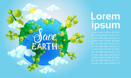 World Environment Day Ecology Protection Holiday Greeting Card Flat Vector Illustration