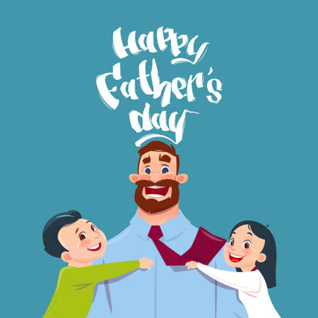 Happy Father Day Family Holiday, Daughter And Son Embracing Dad Greeting Card Flat Vector Illustration
