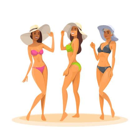 Three Woman In Bikini, Full Length Long Leg Sexy Girls Wear Hat Happy Smiling Flat Vector Illustration