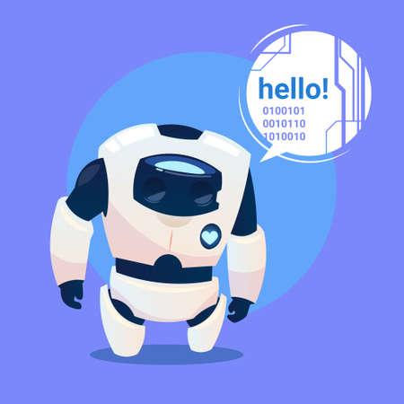 Modern Robot Says Hello, Futuristic Artificial Intelligence Mechanism Technology Flat Vector Illustration