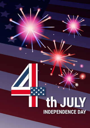 United States Flag Independence Day Holiday 4 July Banner Flat Vector Illustration Illustration