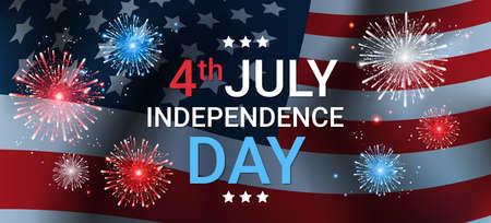 United States Flag Independence Day Holiday 4 July Banner Flat Vector Illustration Illustration