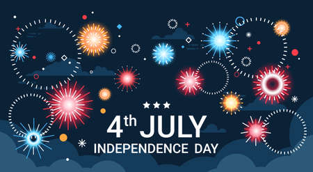 United States Independence Day Holiday 4 July Banner Greeting Card Flat Vector Illustration Illustration