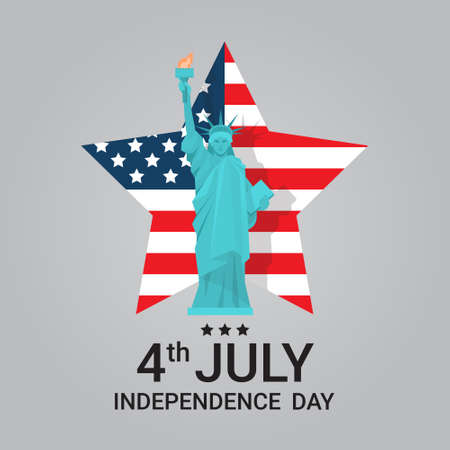 Liberty Statue Over United States Flag Star Independence Day Holiday 4 July Banner Flat Vector Illustration