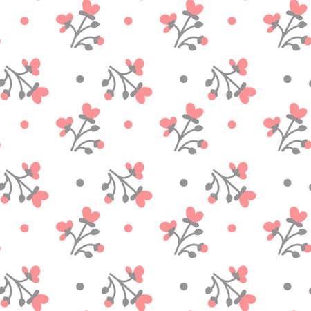 白い背景のシームレスなパターン ベクトル図に色とりどりの花  イラスト・ベクター素材