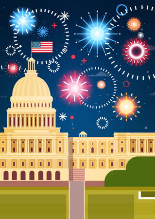 Fireworks Above White House, United States Independence Day Holiday 4 July Concept Flat Vector Illustration Illustration
