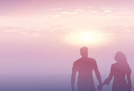 happy couple: Silhouette Romantic Couple Holding Hands At Sunset Lovers Man And Woman Copy Space Flat Vector Illustration