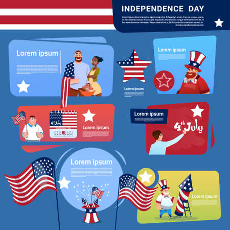 Mix Race People Celebrate United States Independence Day Holiday 4 July Banner Greeting Card Flat Vector Illustration