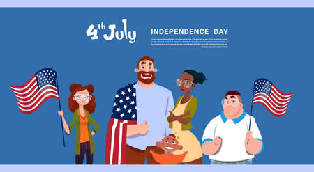 Mix Race People Hold United States Flag Independence Day Holiday 4 July Banner Greeting Card Flat Vector Illustration