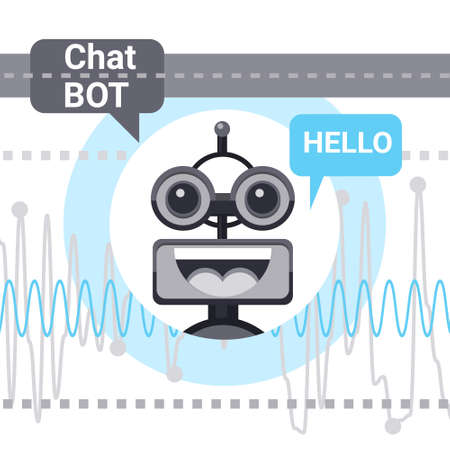 says: Free Chat Bot Says Hello, Robot Virtual Assistance Element Of Website Or Mobile Applications, Artificial Intelligence Concept Vector Illustration Illustration