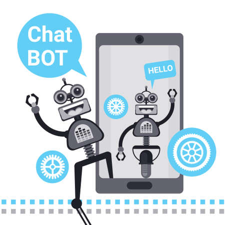 Free Chat Bot, Robot Virtual Assistance Element Of Website Or Mobile Applications, Artificial Intelligence Concept Vector Illustration