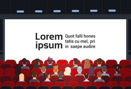 People Sit Cinema Hall Back Rear View Looking Ar Screen With Copy Space Flat Vector Illustration