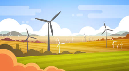 Wind Turbine Tower In Field Blue Sky Alternative Energy Source Technology Flat Vector Illustration