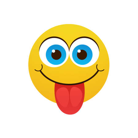 Yellow Smiling Cartoon Face Positive People Emotion Show Tongue Icon Flat Vector Illustration
