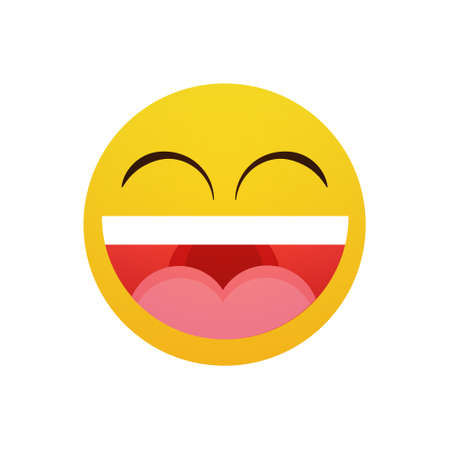Yellow Smiling Cartoon Face Laugh Positive People Emotion Open Mouth Icon Flat Vector Illustration