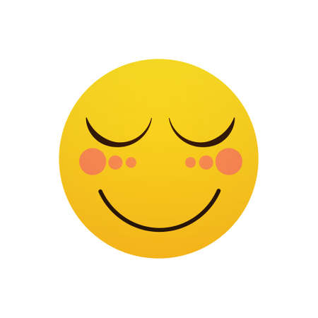 Yellow Smiling Cartoon Face Shy Positive People Emotion Icon Flat Vector Illustration Illustration