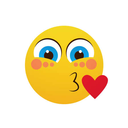 Yellow Smiling Cartoon Face Blowing Kiss Positive People Emotion Icon Flat Vector Illustration