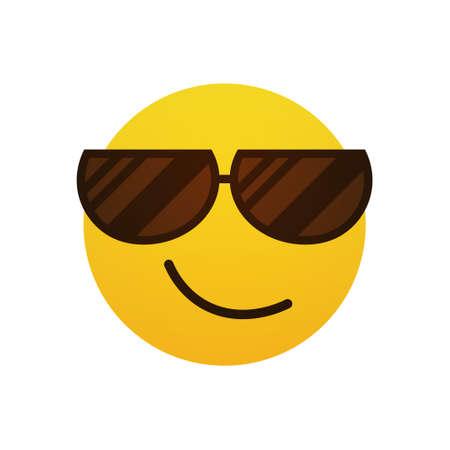 Yellow Smiling Cartoon Face Wear Sunglasses Positive People Emotion Icon Flat Vector Illustration Vektorové ilustrace