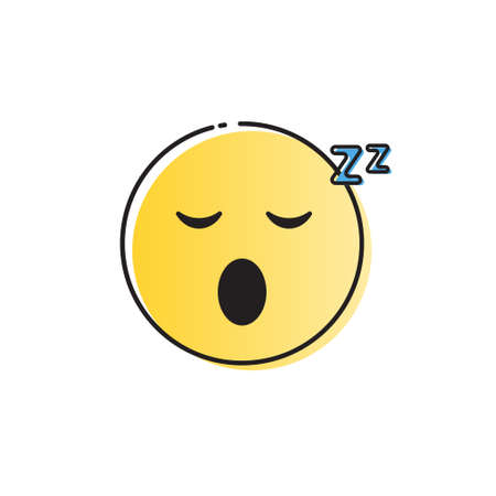 Yellow Smiling Cartoon Face Sleeping People Emotion Icon Vector Illustration