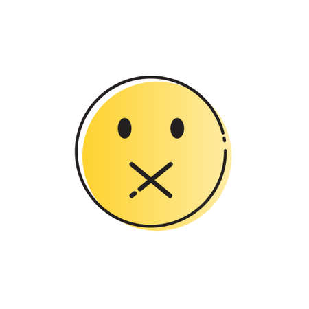 silent: Yellow Cartoon Face Silent Not Speaking People Emotion Icon Vector Illustration