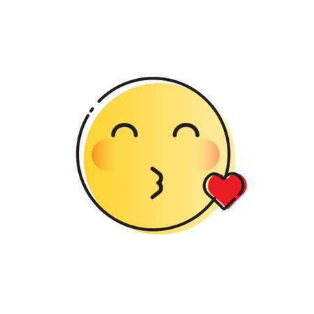 Yellow Smiling Cartoon Face Blowing Kiss Positive People Emotion Icon Vector Illustration