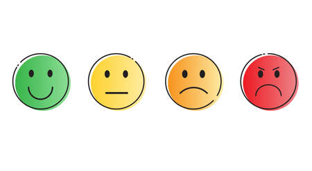 Colorful Smiling Cartoon Face Positive People Emotion Icon Set Vector Illustration