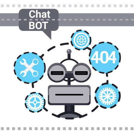 Free Chat Bot Fixing Error, Robot Virtual Assistance Element Of Website Or Mobile Applications, Artificial Intelligence Concept Vector Illustration