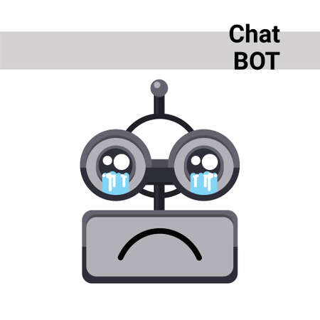 Cartoon Robot Face Cry Emotion Chat Bot Icon Flat Vector Illustration Illustration