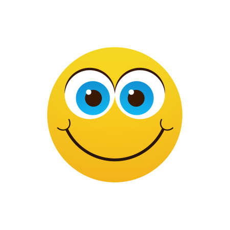 Yellow Smiling Cartoon Face Positive People Emotion Icon Flat Vector Illustration