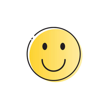 Yellow Smiling Cartoon Face Positive People Emotion Icon Vector Illustration