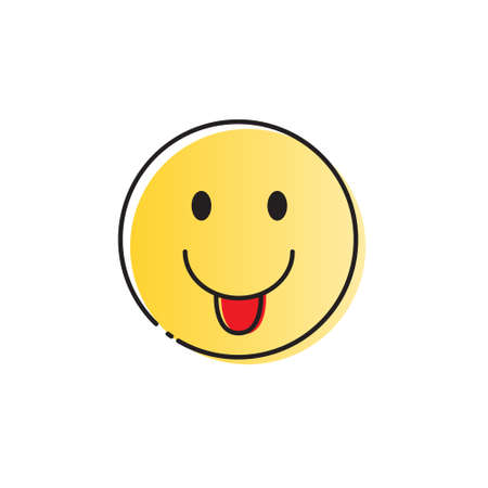 Yellow Smiling Cartoon Face Positive People Emotion Show Tongue Icon Vector Illustration