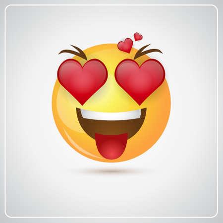 Yellow Smiling Cartoon Face Positive People Emotion Icon Flat Vector Illustration Vektorové ilustrace