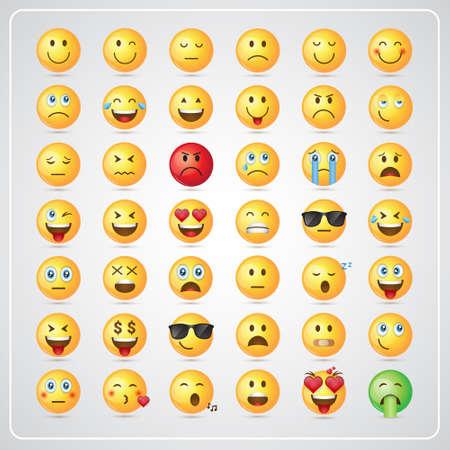 Yellow Smiling Cartoon Faces Emotion Icon Set Vector Illustration