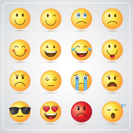 Yellow Smiling Cartoon Face Positive People Emotion Icon Set Vector Illustration