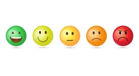smiley sourire visage de bande dessinée face émotion positives ensemble d & # 39 ; icône illustration vectorielle