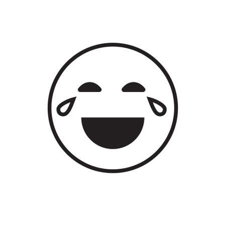 Lächelndes Karikatur-Gesichts-Lachen-positive Leute-Gefühl-offene Mund-Ikonen-Vektor-Illustration Vektorgrafik
