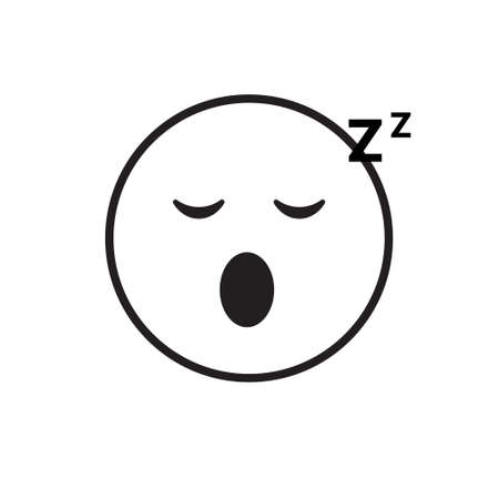 snore: Smiling Cartoon Face Sleeping People Emotion Icon Vector Illustration