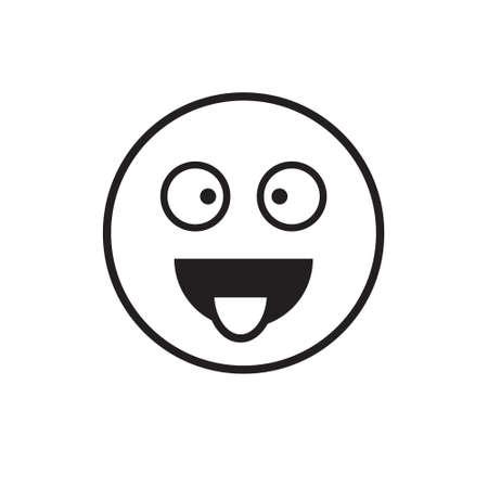 Smiling Cartoon Face Show Tongue Positive People Emotion Icon Vector Illustration Vektorové ilustrace
