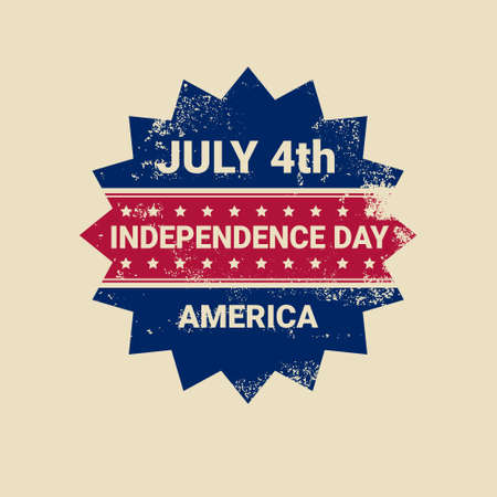 United States Independence Day Holiday 4 July Retro Label Greeting Card Vector Illustration Illustration