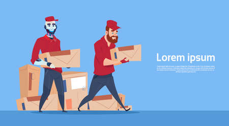 Courier Robot Carry Box Delivery Package Post Service Banner Copy Space Flat Vector Illustration