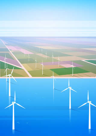 Wind Turbine Energy Renewable Water Station Field Background Flat Vector Illustration Illustration