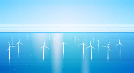 wind mills: Wind Turbine Energy Renewable Water Station Sea Background Flat Vector Illustration