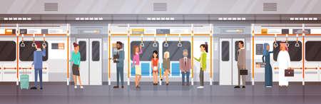 Mensenpassangers in Metro Car Modern City Openbaar vervoer, Ondergrondse Tram Vlakke Vectorillustratie