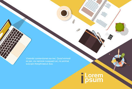 Business Workplace Desk Top Angle View Notebook Laptop Computer Banner With Copy Space Flat Vector Illustration Illustration