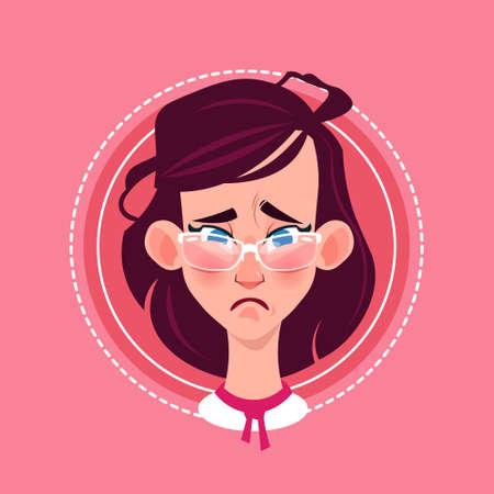 Profile Icon Female Emotion Avatar, Woman Cartoon Portrait Sad Face Flat Vector Illustration