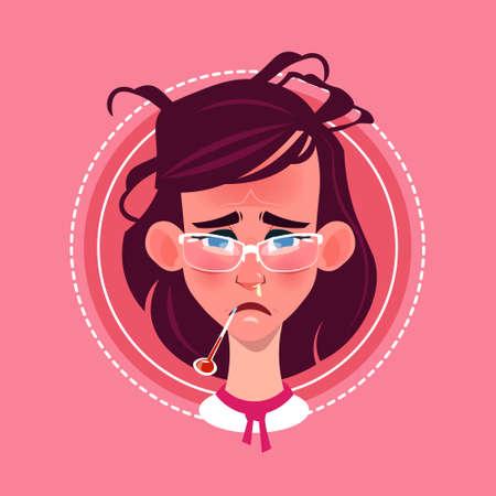Profile Icon Female Emotion Avatar, Woman Cartoon Portrait Feeking Sick Face Flat Vector Illustration