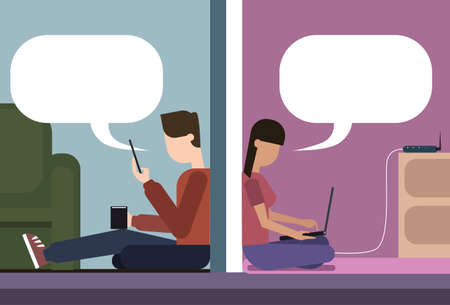 woman cellphone: Man And Woman Sitting On Floor At Home Chatting Together Using Cell Smart Phone And Laptop Computer Wireless Wifi Online Connection Vector Illustration