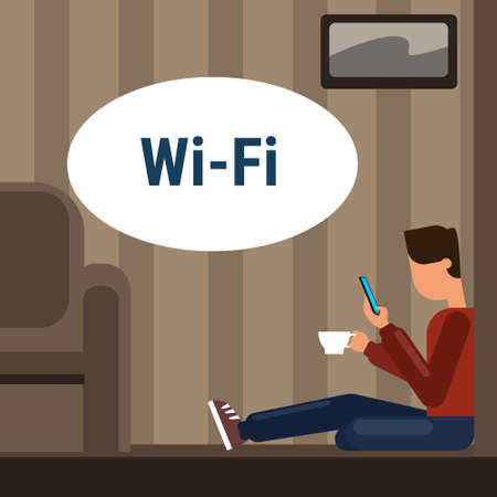 Man Sitting On Floor At Home Use Cell Smart Phone Internet Through Wifi Wireless Online Connection Vector Illustration Иллюстрация