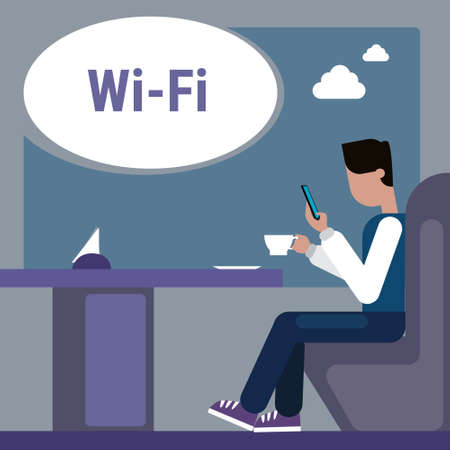 using smart phone: Man Sitting At Cafe Table Use Cell Smart Phone Internet Through Wifi Wireless Online Connection Vector Illustration